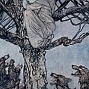 She Looked With Angry Woe At The Straining And Snarling Horde Below Illustration From Irish Fairy  Poster