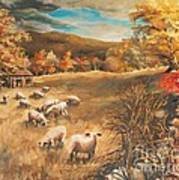 Sheep In October's Field Poster