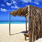 Shelter On A White Sandy Caribbean Beach With A Blue Sky And White Clouds Poster