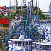 Shem Creek Shrimp Boats Poster