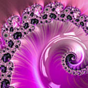 Shiny Pink Fractal Spiral Poster