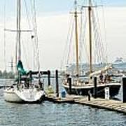 Ships In Newport Harbor Poster