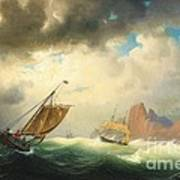 Ships On Stormy Ocean Poster