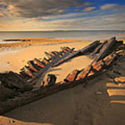 Shipwreck On Cape Cod Beach Poster by Dapixara Art