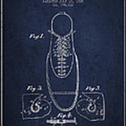 Shoe Eyelet Patent From 1905 - Navy Blue Poster