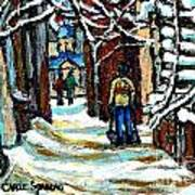 Shovelling Out After January Storm Verdun Streets Clad In Winter Whites Montreal Painting C Spandau Poster