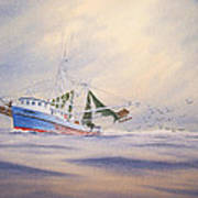 Shrimp Boat On The Gulf Poster