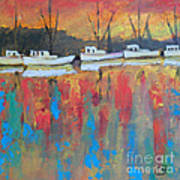 Shrimp Boats At Dawn Poster