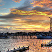 Shrimp Boats At Sunset Poster by Benanne Stiens