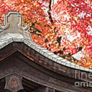 Shrine Roof And Autumn Leaves Arashiyama Kyoto Poster by Colin and Linda McKie