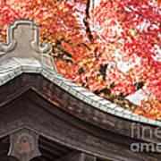 Shrine Roof And Autumn Leaves Arashiyama Kyoto Poster