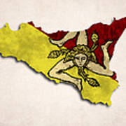 Sicily Map Art With Flag Design Poster