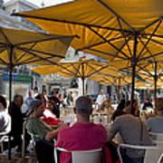 Sidewalk Cafe In Lisbon Poster