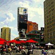 Sidewalk Cafe Lunch Break Red Umbrellas Yonge Dundas Square Toronto Cityscene C Spandau Canadian Art Poster