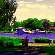 Sights Along The Harbor Late Day Stroll Lachine Canal Bike Path Montreal Scenes Carole Spandau Poster