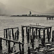 Siglufjordur Old Pier Black And White Poster
