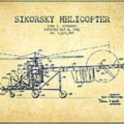 Sikorsky Helicopter Patent Drawing From 1943-vintgae Poster