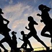Silhouette Female Runners Poster