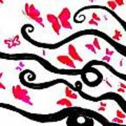 Silhouette Of A Woman With Pink Butterflies Poster