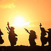 Silhouette Of Hula Dancers At Sunrise Poster