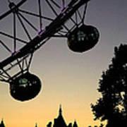 Silhouette Of London Eye Poster