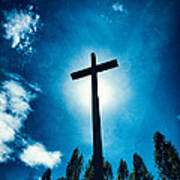 Silhouetted Cross Poster