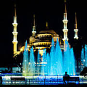 Silhouettes Of Blue Mosque Night View Poster