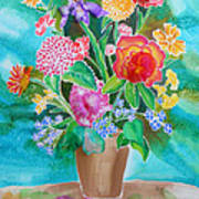 Silk Teal Bouquet Poster by Sandra Fox