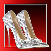 Silver And Red High Heels Poster