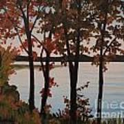 Silver Lake Through Autumn Trees Poster
