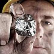 Silver Miner With Nugget Poster