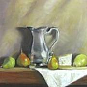 Silver Pitcher With Pears Poster