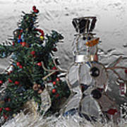 Silver Snowman With Christmas Tree Poster