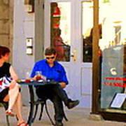 Simplement Dliche Cupcakes Et Ice Tea Bistro Rue St Denis Plateau Montreal Cafe Scene Carole Spandau Poster