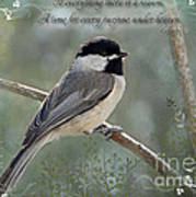 Simply Chickadee With Verse Poster