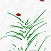 Simply Ladybugs And Grass Poster