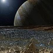 Simulated View From Europas Surface Poster