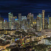 Singapore Central Business District Skyline And Chinatown At Dus Poster