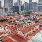 Singapore Chinatown With Modern Skyline Poster