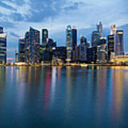 Singapore City Skyline At Blue Hour Poster