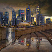Singapore City Skyline By The Esplanade Poster