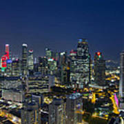 Singapore Cityscape At Blue Hour Poster
