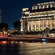 Singapore Fullerton Hotel At Night 02 Poster