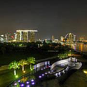 Singapore Night Skyline From Marina Barrage Poster