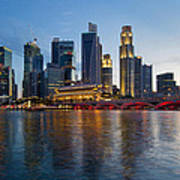 Singapore River Waterfront Skyline At Sunset Poster
