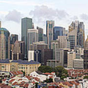 Singapore Skyline Along Chinatown Area Poster