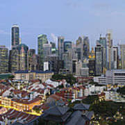 Singapore Skyline Along Chinatown Evening Poster
