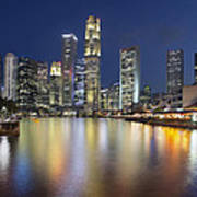 Singapore Skyline By Boat Quay Vertical Poster