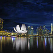 Singapore Skyline By River Waterfront At Dusk Poster