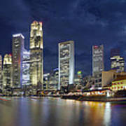 Singapore Skyline From Boat Quay Poster